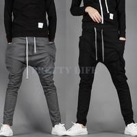 Hot Sale New 2014 Men Sport Pants Regular Fit Sports Harem Pants Bag Jogging Trousers Sweatpants Black/Dark Gray b7 16719