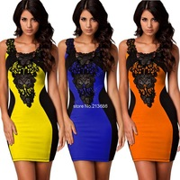 Bandage Dress 2014 New Arrival Women Elegant Embroidery Bodycon Dresses New Fashion Patchwork Autumn Casual Dress #2 SV004641