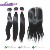 Rosa Hair Products 3 Pieces Brazilian Virgin Hair Bundles With Lace Closure Bleached Knots 4Pcs/Lot Straight Shipping Free