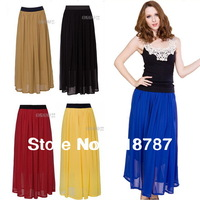 Free shipping blue/yellow/red/pink long skirts double-layers straigt maxi skirts womens for women 2013