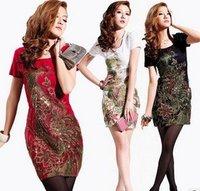 Red/Black/White M,L,XL2XL3XL4XL,5XL Phoenix Embroidery Slim plus size knee-length 2014 Spring Summer Elegant Vintage party dress