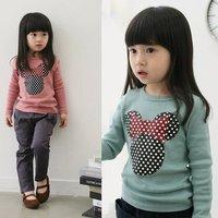 [retail] baby girls spring minnie long sleeve t shirt kids clothing,1137