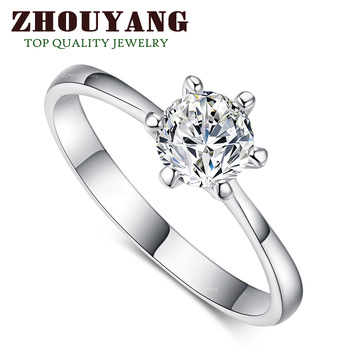 ZYR013  Six Claw 18K Platinum Plated Princess Cut  Wedding Ring Made with Austrian Crystals Full Sizes Wholesale