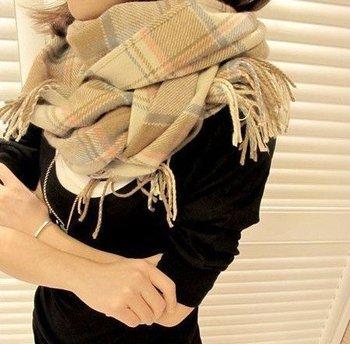 Free Shipping! 2015 NEW ,Classic Korean Autumn Winter Women's Imitation Cashmere Wool Scarf Shawl  Long Plaid Scarf,M-076