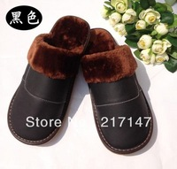 Free shipping winter genuine leather slippers with plush for men and women, home warm slippers for winter