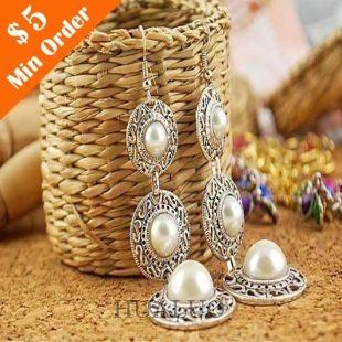 National wind Imitation Pearl Hat Earrings  Charming Jewellery For Women E614