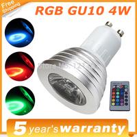 RGB Bulb Cob GU10 LED Spotlight 4W LEDS AC110-245V 220V Bulbs 24 Keys IR Remote Lights For Home Bar Party Lighting RGB LED Lamp