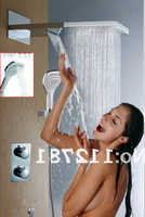 Bathroom Rainfall And Waterfall Shower Head Thermostatic Bath Faucet Set With Two Handles Shower Mixer Valve I003-55X23H