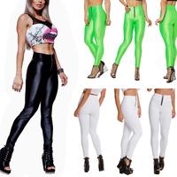 2014 Women Plux Size Gym Leggings High Waist Neon Candy Colour Yoga Sport  Zipper Pants