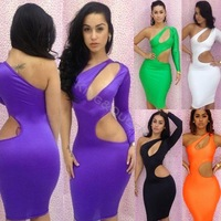 2014 New Fashion Sexy Women's Party Club Bandage One-Shoulder Knee-length Bodycon Dresses Black/Green/Purple/White S/M/L 20