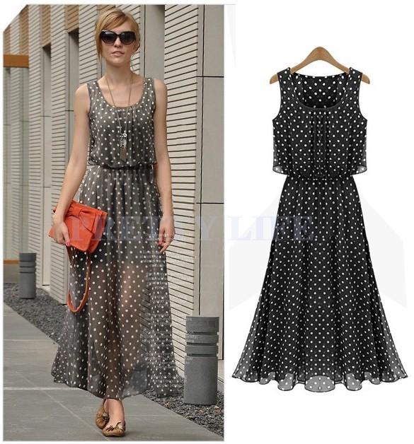 Al dettaglio moda donna pois maxi lungo casual estate spiaggia party dress in chiffon, grandi dimensioni donne sundress b11 sv003488