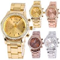Luxury Brand Women Wristwatches Crystal Stainless Steel Watch Woman, Ladies Watches Fashion Gold Dress Quartz Wrist Watch SV10