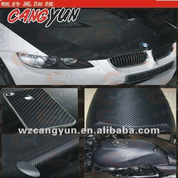 (with air free bubble ) 1.52X30M/ black 3D Carbon Fiber Car Sticker  Vinyl