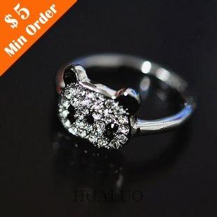 Cheap Shiny Small Panda Ring, Cute Rhinestone Hot Fashion Ring  R176