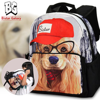 "12"" Children Backpack bags, cute kids School bags, top selling mochila, dog printed cute backpacks, new, Free Shipping"