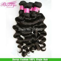 "6A Pervian virgin hair loose Deep wave 3pcs/lot (12""-30"")  Berrys Beautiful Fashion hairhair weaves 100% human hair extensions"