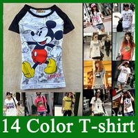 2014 NEW  women's cartoon MICKEY cartoons 100% cotton short-sleeve round neck t shirt women tops Hot Printed Lady T Shirts