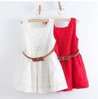 2015 new arrival girl lace waistband dress girl summer white dress,1671