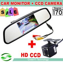 HD Video Auto monitor Aparcamiento, LED de visión nocturna de marcha atrás del coche del CCD cámara de visión trasera con 4,3 pulgadas de coches Espejo retrovisor monitor(China (Mainland))
