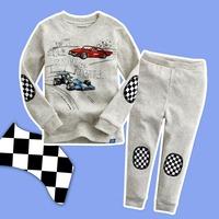 Retail 2013 New Arrival Autumn Kids Clothes Cute Cartoon Animal T Shirt + Pants Boys and Girls pajamas set Tracksuit
