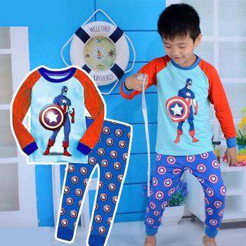 2015 captain america kid pajama sets long sleeve cartoon toddler baby pijamas kid retail children's sleepwear for boys girls
