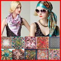 2014 Big Size 90x90cm Silk Square Scarf Women Fashion Brand High Quality Cheap Imitated Silk Satin Scarves Polyester Shawl Hijab