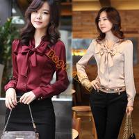 3 Colors 2014 NEW Korea Women's Bowtie OL Shirt Long Sleeve Bowknot Vintage Shirts Ladies Chiffon Tops Blouse 3847 F