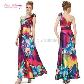 HE09623PP One Плечи Floral Print Атлас Formal Evening Dress Длинный Celebrity Dresses