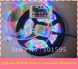 Hot Selling!!! 5m/roll SMD 3528 RGB Waterproof 300 LED flexible led light strip + 24 key IR Remote(China (Mainland))