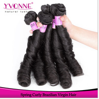 3Pcs/lot Spring Curly Virgin Brazilian Human Hair Weave,New Style Alixpress Yvonne Hair,12-28 Inch in Stock,Hair Color 1B