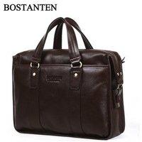 100% Original High quality Leather men designer handbags bags,leather men bags+Free Shipping & Brown