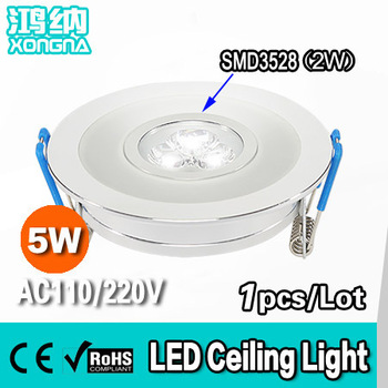 AC90~260V 5W LED Ceiling Lights with Colorful Emitting Ring(SMD3528), 2 Years Warranty, 100~110 lm/W, Warm White/Cold White