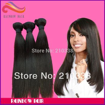 "Retail sample hair Bra-zilian natural straight 12"" ~34"" long length vir-gin hu-man hair extension mix any length you like"