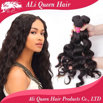 ALi Queen Hair Products 6A Unprocessed Virgin Brazilian Hair Weave Bundles 3Pcs Lot Natural Black Brazilian Hair More Wave