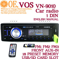 In stock High quality universal Car Radio USB SD MP3 PLAYER,FM modulator IR Remote Control,LED,1 din Fixd Panel Alpine 12V