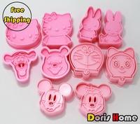 FREE SHIPPING 5packs 10sets plastic  cartoon mickey bunny Winnie hello kitty cookies mold cutter