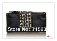 Hot Sale PU Leather Fashion Handbag Women's  Evening Bag Rivet Candy Bag  Clutch  Bags Wemen's Bags Wallet    free  shipping