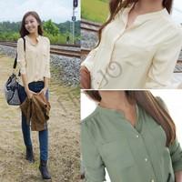 2014 Summer Fashion Women's Chiffon Blouses Officer OL Shirts Long Sleeve Button Pocket Tops Shirt SV000848 b003