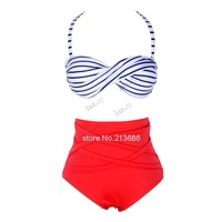 hot Sale!New Vintage Style Stripes Bandage Bikini High Waist Padded Twisted Bandeau Swimwear Swimsuit Bathing Suit b4 SV001362