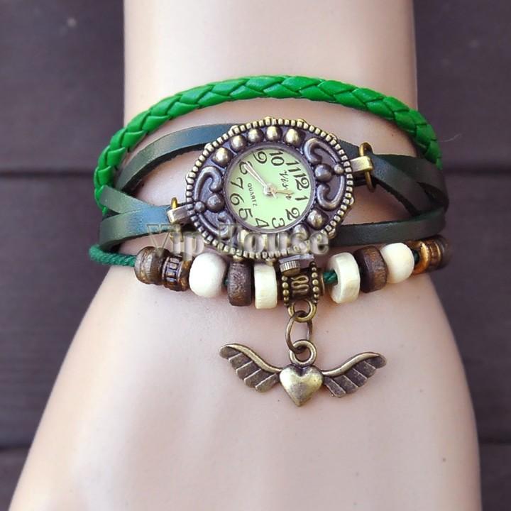 2014 New Angel Heart Decoration Womens Dress Watches Fashion Vintage Antique Womens Bracelet Handmade Weave Watch #7 19186(China (Mainland))