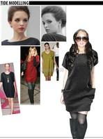 New 2014 Autumn Winter Casual Women Loose Dresses Short Sleeve Pocket Dress O Neck Winter Dress Vestidos 4colors #12 CB029884