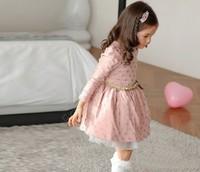 2014 Hot Sale Winter Girls Princess Dress Long Sleeve Polka Dots Dress Ages With Belt 3-11Y Drop Shipping B21 SV010782