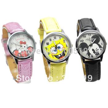 JW009  Hotsale! Waterproof Cartoon Child Watch Girls Lady Quartz Steel Kids Wrist Watch 3 Colors