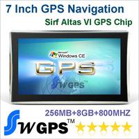 7.0 inch Car GPS navigator, Atlas VI, built-in 8GB, CPU 800MHZ, 256M bluetooth AV-in Russia Europe USA Canada Australia maps.