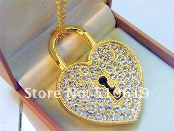 Promotion~Free shipping+free gifts box, MOQ1~ Crystal  Heart lock jewelry usb 4GB/8GB/16GB  2.0 usb flash drive