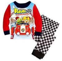 Children's Spring Season Cartoon Long-sleeved Nightwear Boys' Long Pyjamas Lycra Sleepwear Sets, 6 Sizes(2T-7T)/lot - GPA422