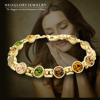 Neoglory Auden Rhinestone Charm 14K Gold Plated Bead Bracelets & Bangles for Women Gift Fashion Jewelry Brand 2014 Russia