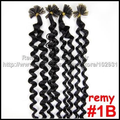 "20"" #1B Indian remy keratin Nail tip U tip human hair extensions Curly"