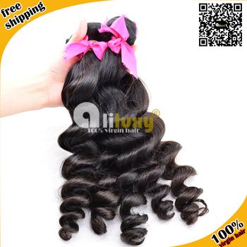 Malaysian Virgin hair  3 pcs Lot, 100% human hair wave , loose weave, color1b#,6A grade TOP QUALITY