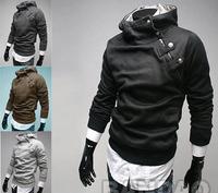 Men's outerwear Sweater Hoodie Jacket  High Rabbit Fur Collar Coats fashion casual dust coat Sleeve clothes 4 Colors Size:M-XXXL